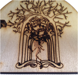 Fairy Door Opening Forest Theme Engraved Woodland and hidden fairy behind trees - Designed by Soriska Ltd - 2