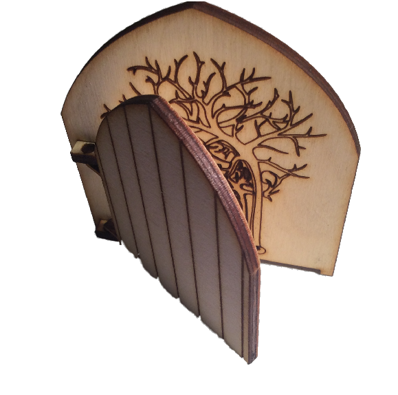 Fairy Door Opening Forest Theme Engraved Woodland and hidden fairy behind trees - Designed by Soriska Ltd - 1