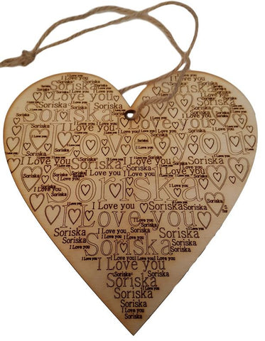 Personalized Large Wooden Heart Word Cloud