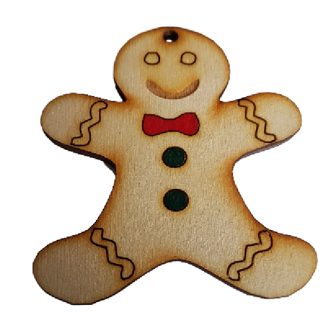 Gingerbread Man Wooden Bunting - Christmas Bunting Just Add Ribbon - 10 pack