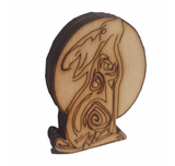 Moon Hare. Two Ear Side View.  Free Standing Wooden Craft 44 x 32 mm - Designed by Soriska Ltd - 3