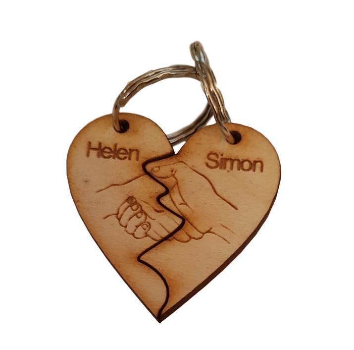 Personalised Keyring Heart Couples, Engraved holding hands x2 names engraved