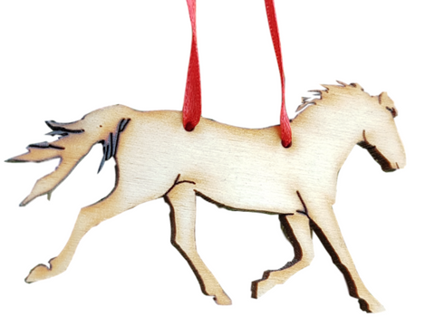Horse Christmas Tree Decoration with  Red Ribbon to Hang