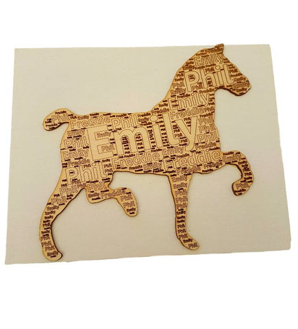 Personalised Gift  Horse Wooden Picture - Named Engraved - Canvas Frame