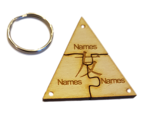 Friends Jigsaw Personalised Keyring -Friendship Symbol (Chinese)   x 3  Names Engraved