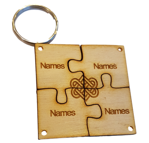 Eternal Friendship - Eternal Love Jigsaw Personalised Keyring x4 Names Engraved
