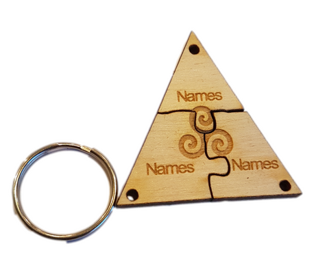 Family Jigsaw Personalised Keyring -Life - Strength -Nature - Symbol (Triskelion - Celtic Symbol)  x3 Names Engraved