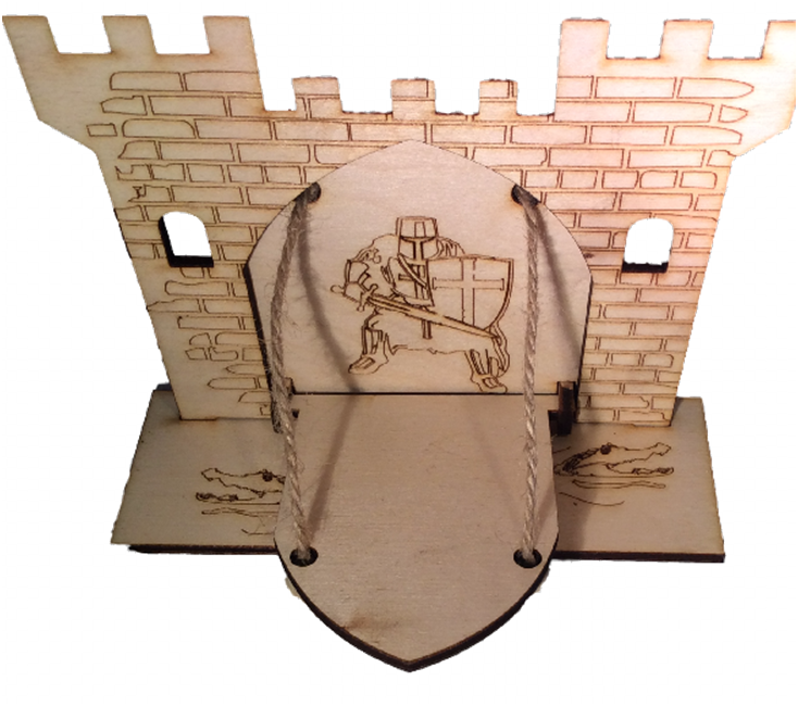 Fairy Door  Drawbridge Series Knights Castle with base engraved with crocodiles - Designed by Soriska Ltd - 1