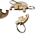 Personalised Keyring, Rustic Log Slice Key ring x4 Names Engraved for Family and Friends