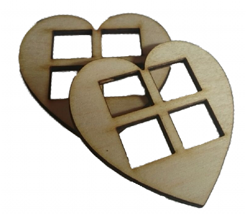 Medium  Heart Shaped Windows Set of 4  Size 7 x 7 CM : Fairy Garden Accessories / Wooden Accessory Dolls House - Designed by Soriska Ltd - 1