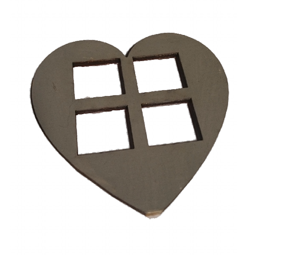 Grey Medium  Heart Shaped Windows Set of 4  Size 7 x 7 CM : Fairy Garden Accessories / Wooden Accessory Dolls House - Designed by Soriska Ltd
