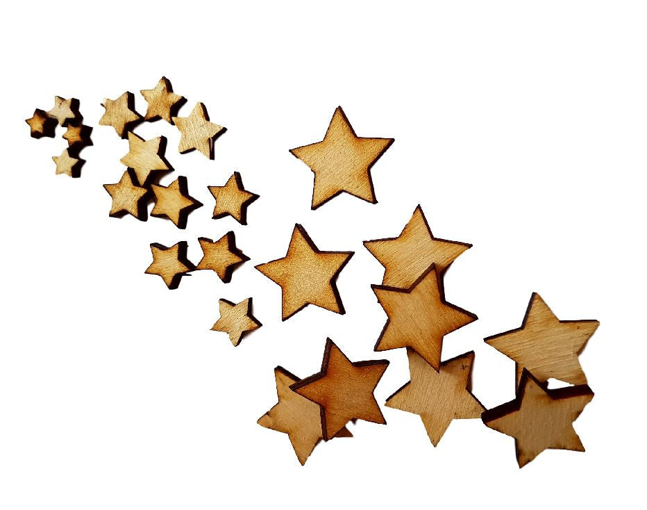Star Embellishments - Pack of Miniature Wooden Stars in Varying Sizes - Card Making Crafts