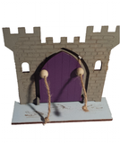 Fairy Door  Drawbridge Series Knights Castle with base engraved with crocodiles - painted - Designed by Soriska Ltd - 1