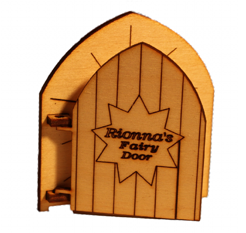 Personalised Fairy Door Star Light Glimmer Opening with Name Engraved - Designed by Soriska Ltd - 1