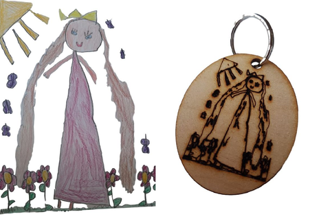Personalised Keyring - Children's Artwork Engraved Keepsake