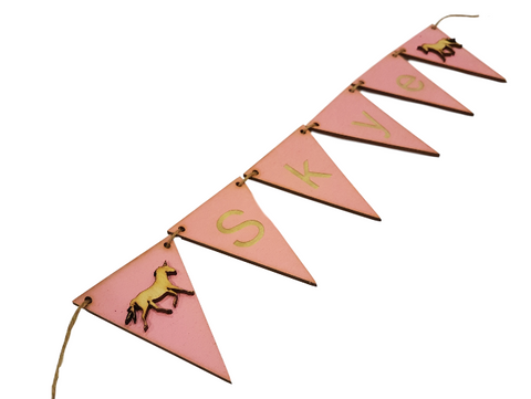 Gorgeous Pink Bunting Flags: Personalised Wooden