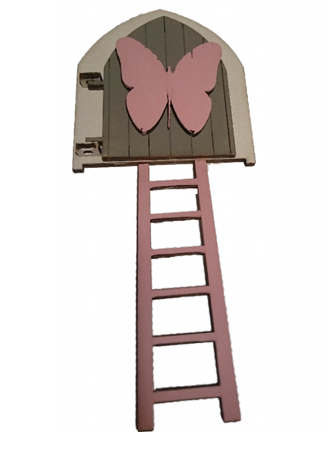 Fairy Door Original Design Hand Painted : White with Grey Door and Pink Butterfly Embellishment with White Ladder - Designed by Soriska Ltd - 1