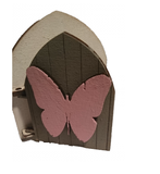 Fairy Door Original Design Hand Painted : White with Grey Door and Pink Butterfly Embellishment with White Ladder - Designed by Soriska Ltd - 4