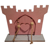 Pink Fairy Princess Castle  Door with Opening Drawbridge,  Blue Crocodile Base and Pink Horse Decoration : Hand Painted - Designed by Soriska Ltd - 2