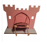Pink Fairy Princess Castle  Door with Opening Drawbridge,  Blue Crocodile Base and Pink Horse Decoration : Hand Painted - Designed by Soriska Ltd - 3