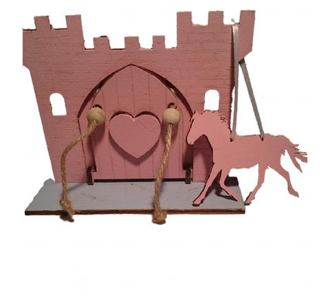 Pink Fairy Princess Castle  Door with Opening Drawbridge,  Blue Crocodile Base and Pink Horse Decoration : Hand Painted - Designed by Soriska Ltd - 1