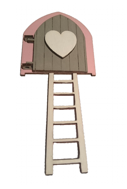 Fairy Door Original Design Hand Painted : Pink with Grey Door and White Heart Embellishment with White Ladder - Designed by Soriska Ltd - 1