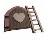 Fairy Door Original Design Hand Painted : Pink with Grey Door and White Heart Embellishment with White Ladder - Designed by Soriska Ltd - 2