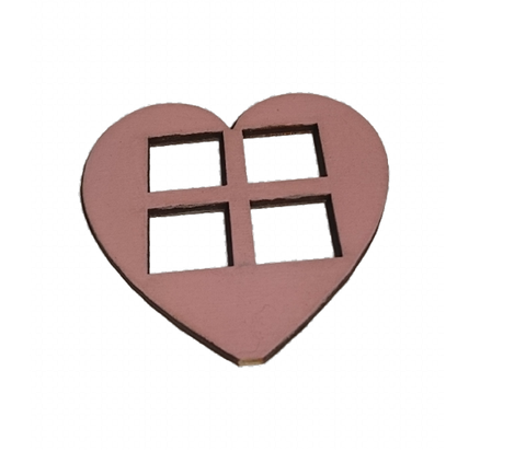 Pink  Medium  Heart Shaped Windows Set of 4  Size 7 x 7 CM : Fairy Garden Accessories / Wooden Accessory Dolls House - Designed by Soriska Ltd