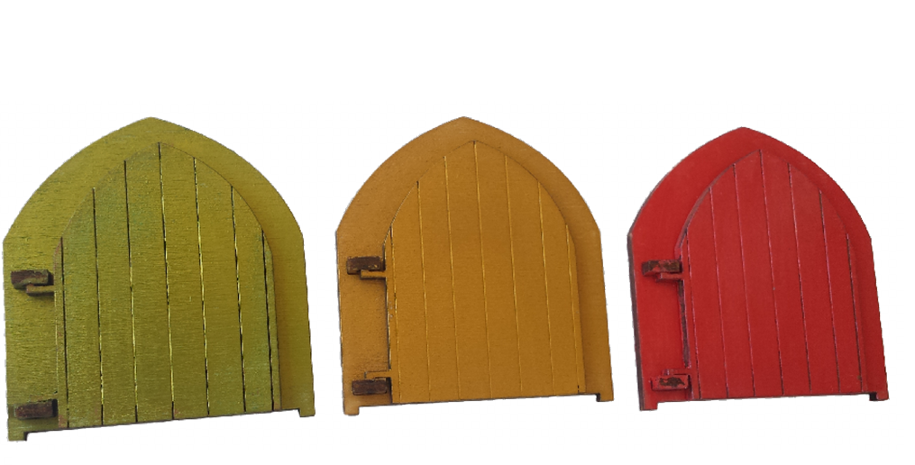 Fairy Door Original -  Shimmering Magical Doors  Red, Green and Gold -  Engraved Fairy - Designed by Soriska Ltd - 1