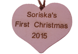 Personalised Baby's First / 1st  Christmas Decoration White Heart -  - 2