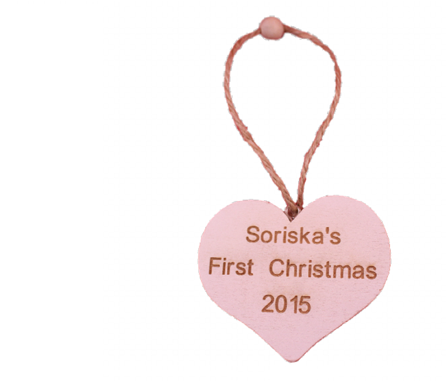 Personalised Baby's First / 1st  Christmas Decoration White Heart -  - 1