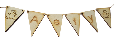 Wooden Bunting Flags, Personalised Bunting.  Custom Made with your Choice of Letters
