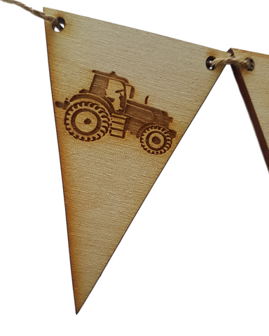 A whole  row of Tractors - Wooden Bunting - Farming Themed Bunting