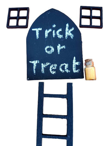 Halloween Door Decoration. Chalk Board Miniature Door, Ladder, Windows and Dust