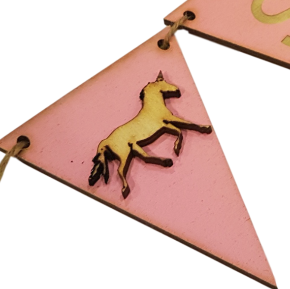 Pink Bunting  End Flags : Choice of Designs Horse - Tractor - Teddy -Unicorn -Surf Board
