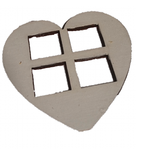 White  Medium  Heart Shaped Windows Set of 4  Size 7 x 7 CM : Fairy Garden Accessories / Wooden Accessory Dolls House - Designed by Soriska Ltd