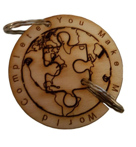 World Puzzle Keyring  Engraved :  Couples Gift