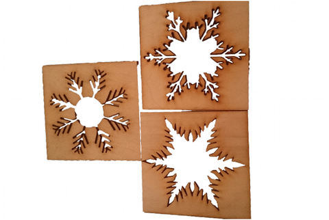 Christmas Craft Snowflakes - ready to paint, varnish or use as a stensil -