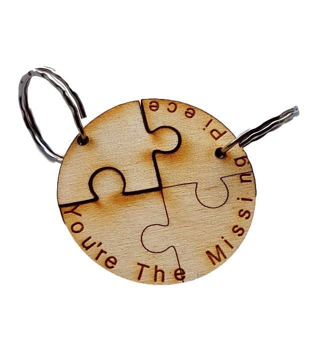 Keyring Round Jigsaw for Couples engraved you're the missing piece
