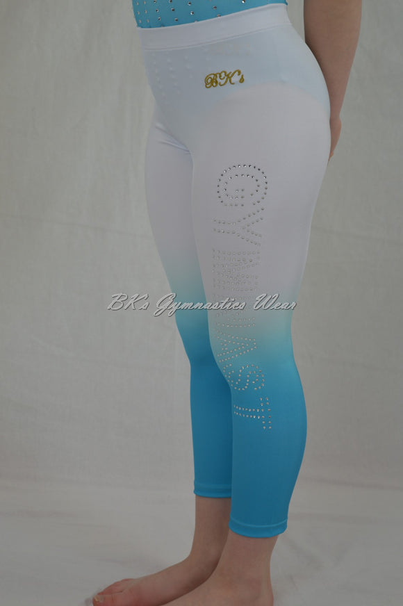 Ombre knee length leggings with crystal