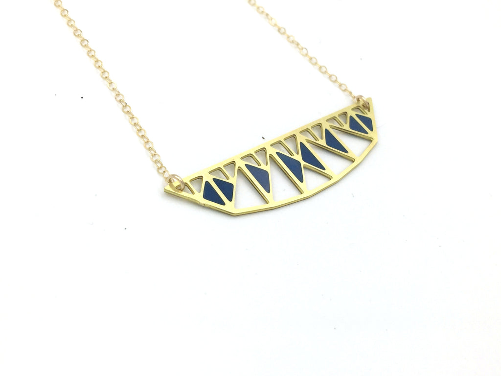 Pennsylvania Truss Bridge Necklace with Resin Inlay