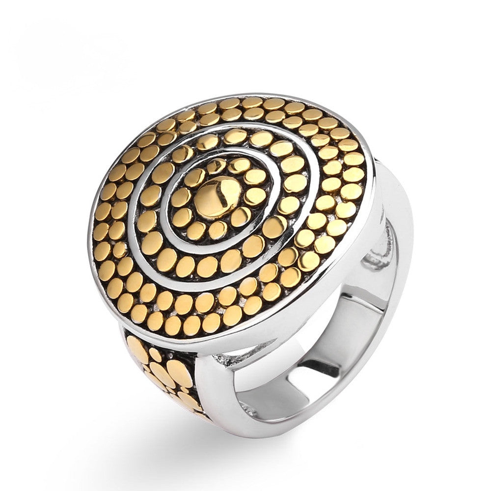 New Collection Two Tone Gold Plated Unique Retro Elegant Ring – 50 ...