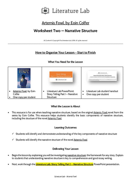 Artemis Fowl - Narrative Structure PowerPoint & Worksheet