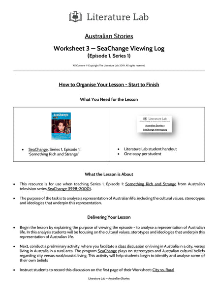 Australian Stories - SeaChange Viewing Log Worksheet