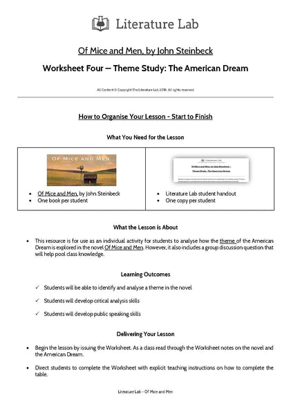 Of Mice and Men Worksheet - American Dream Theme Study