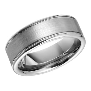 Classic Tungsten Mens Wedding Band 2 Ridges and Brushed Tungsten Ring Anniversary Ring for Men