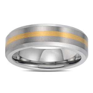 Gold Inlay Mens Wedding Band Tungsten Wedding Ring For Men Brushed Gold Stripe Inlay Center