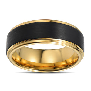 Tungsten Ring Men Wedding Band For Men Brushed Center Two Ridges Black Gold Tungsten Ring