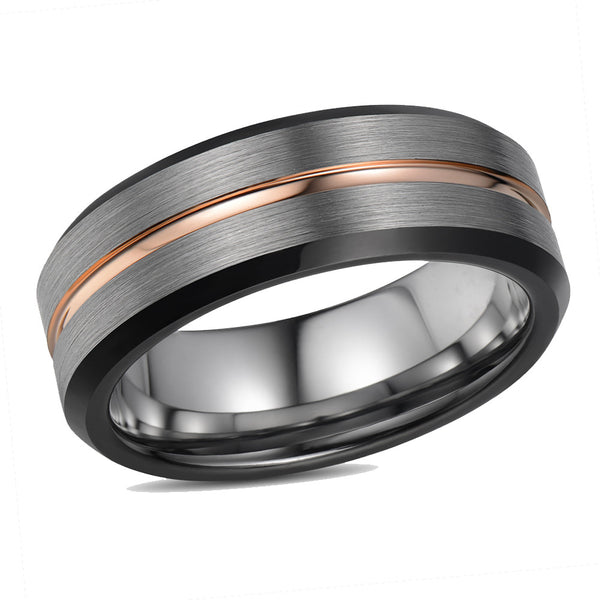 7mm Black Rose Tungsten Ring Tungsten Wedding Ring Personalized Rose Gold Tungsten Ring Mens Tungsten Wedding Band Mens Tungsten Ring