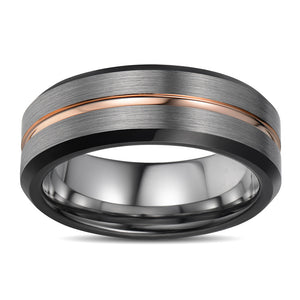 Brushed Mens Wedding Band Tungsten Ring Black Wedding Ring Rose Gold Center Ridge